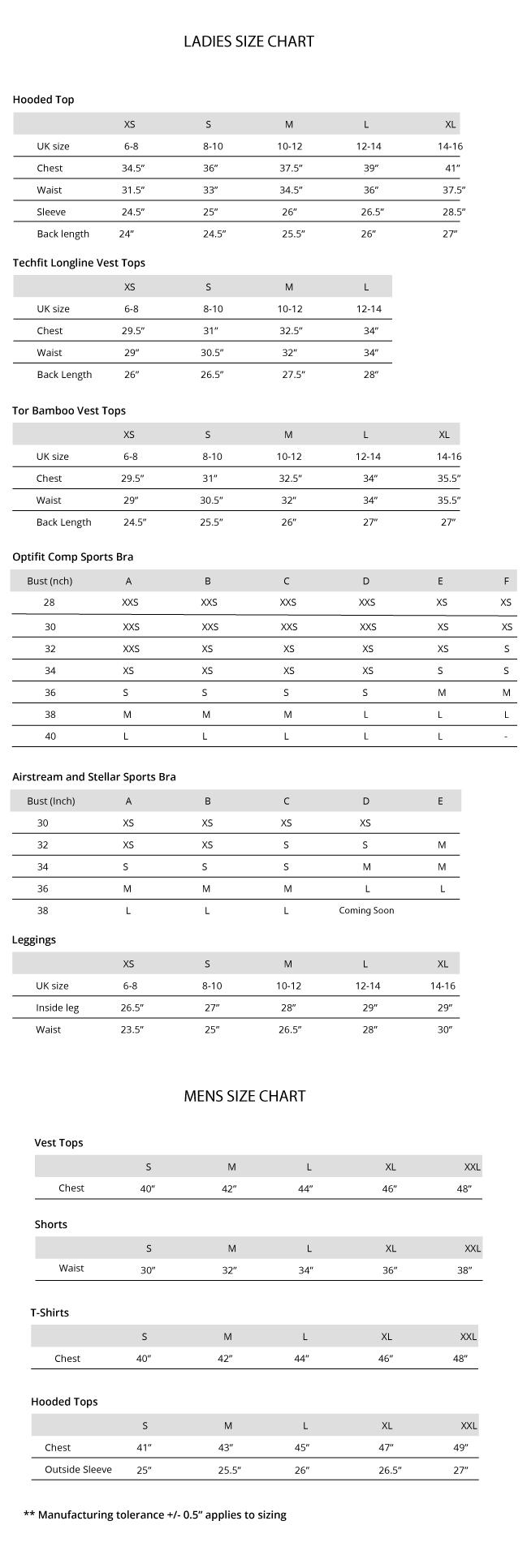 Apexgray size chart